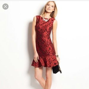 Ann Taylor Floral Jacquard Flounce Dress
